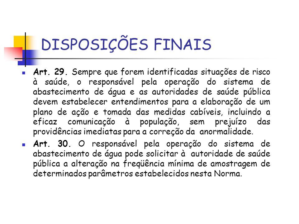 DISPOSIÇÕES FINAIS Art. 29. Sempre que forem identificadas situações de risco à saúde, o responsável pela operação do sistema de abastecimento de água
