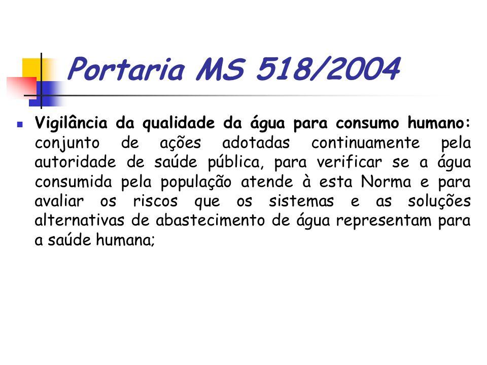 Portaria MS 518/2004 Vigilância da qualidade da água para consumo humano: conjunto de ações adotadas continuamente pela autoridade de saúde pública, p