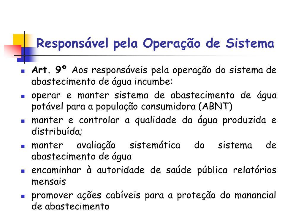 Responsável pela Operação de Sistema Art. 9º Aos responsáveis pela operação do sistema de abastecimento de água incumbe: operar e manter sistema de ab