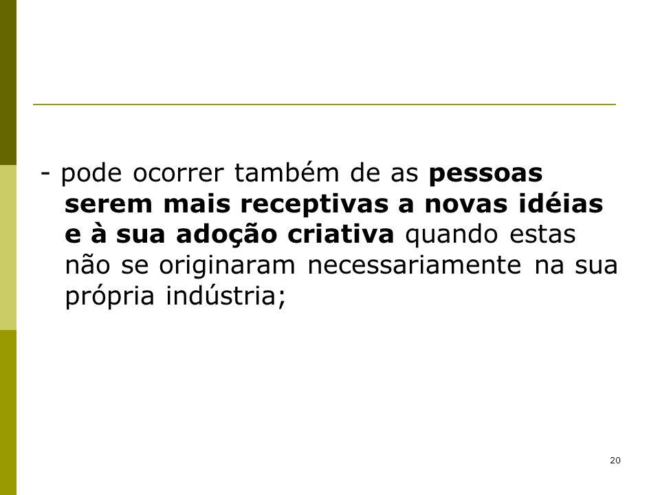 21 - pode também identificar, em outras indústrias (de outros ramos de negócios), avanços tecnológicos que não seriam reconhecidos e, portanto, não aplicados no próprio setor;