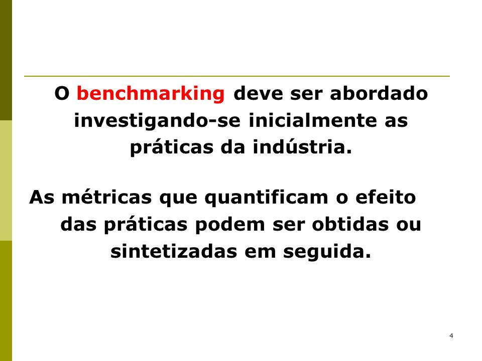 5 O benchmarking é, portanto, uma compreensão de práticas e depois sua quantificação para mostrar seu efeito numérico.