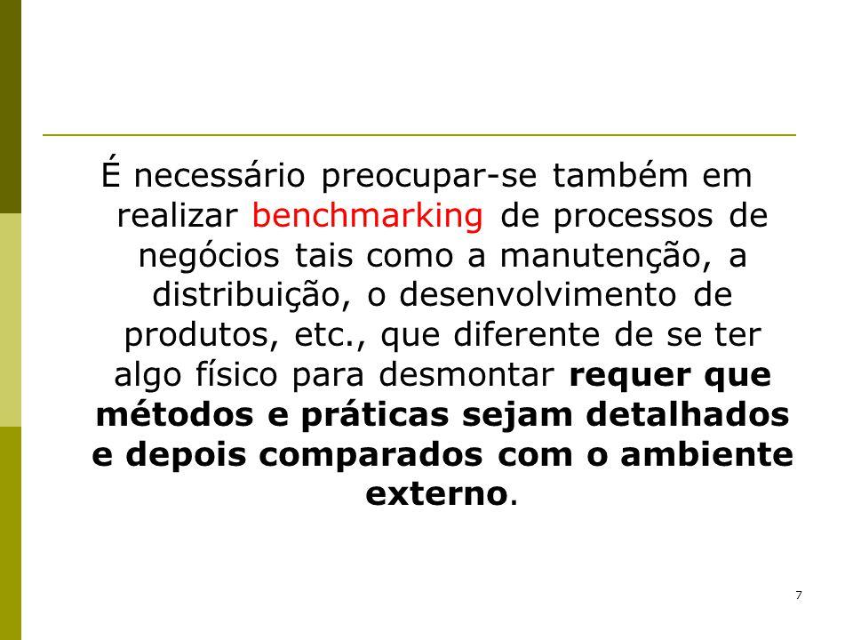 8 Fica claro também que o benchmarking pode levar a compreensão da posição de um concorrente, mas não à criação de práticas superiores àquelas da concorrência, que só será obtida pela descoberta das melhores práticas, onde quer que elas estejam (outros tipos de organizações e não somente os concorrentes).