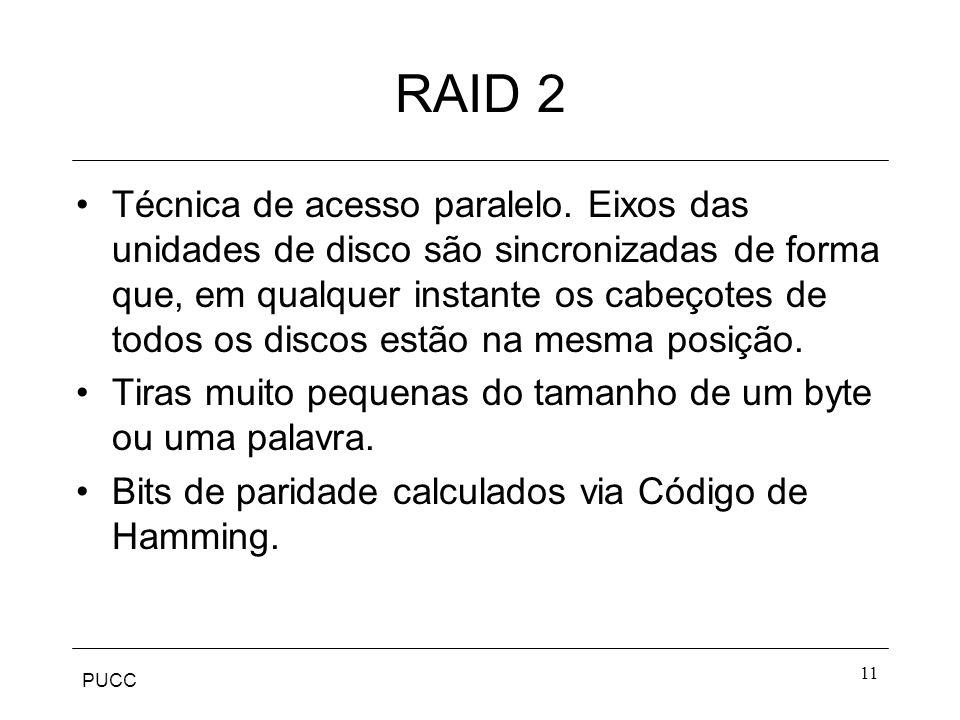 PUCC 11 RAID 2 Técnica de acesso paralelo. Eixos das unidades de disco são sincronizadas de forma que, em qualquer instante os cabeçotes de todos os d