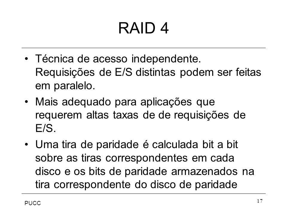 PUCC 17 RAID 4 Técnica de acesso independente. Requisições de E/S distintas podem ser feitas em paralelo. Mais adequado para aplicações que requerem a