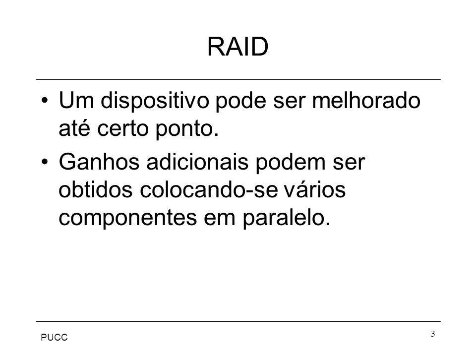 PUCC 14 RAID 3 Requer apenas um disco redundante independente do tamanho do agrupamento de discos.