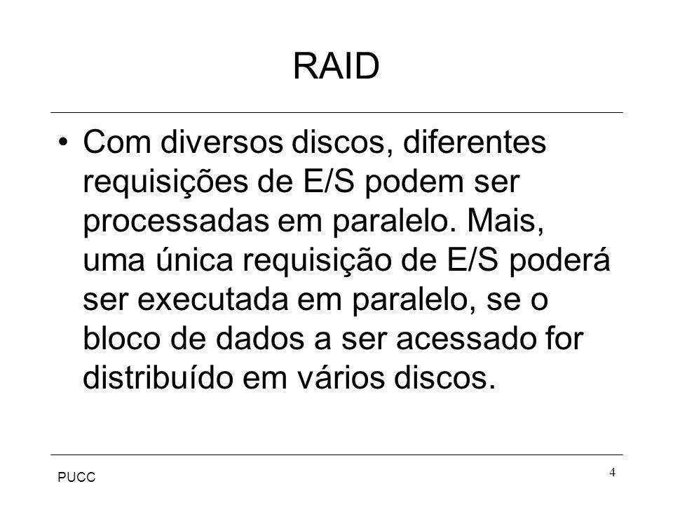 PUCC 4 RAID Com diversos discos, diferentes requisições de E/S podem ser processadas em paralelo. Mais, uma única requisição de E/S poderá ser executa