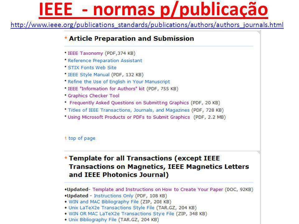 IEEE - normas p/publicação http://www.ieee.org/publications_standards/publications/authors/authors_journals.html
