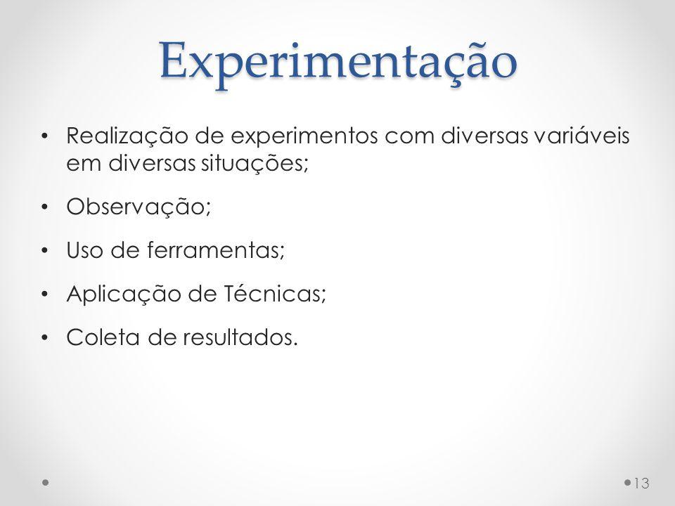Experimentação Realização de experimentos com diversas variáveis em diversas situações; Observação; Uso de ferramentas; Aplicação de Técnicas; Coleta de resultados.