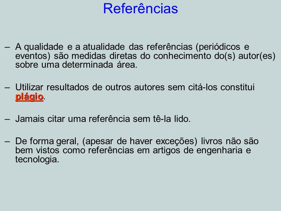 Referências –A qualidade e a atualidade das referências (periódicos e eventos) são medidas diretas do conhecimento do(s) autor(es) sobre uma determinada área.