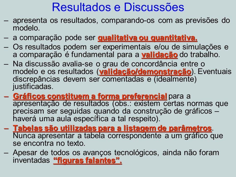 Resultados e Discussões –apresenta os resultados, comparando-os com as previsões do modelo.