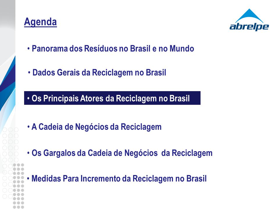 Agenda Os Principais Atores da Reciclagem no Brasil A Cadeia de Negócios da Reciclagem Os Gargalos da Cadeia de Negócios da Reciclagem Medidas Para In