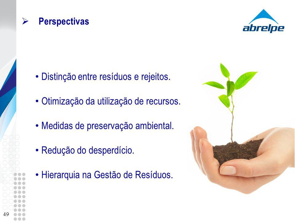 Perspectivas 49 Distinção entre resíduos e rejeitos. Otimização da utilização de recursos. Medidas de preservação ambiental. Redução do desperdício. H
