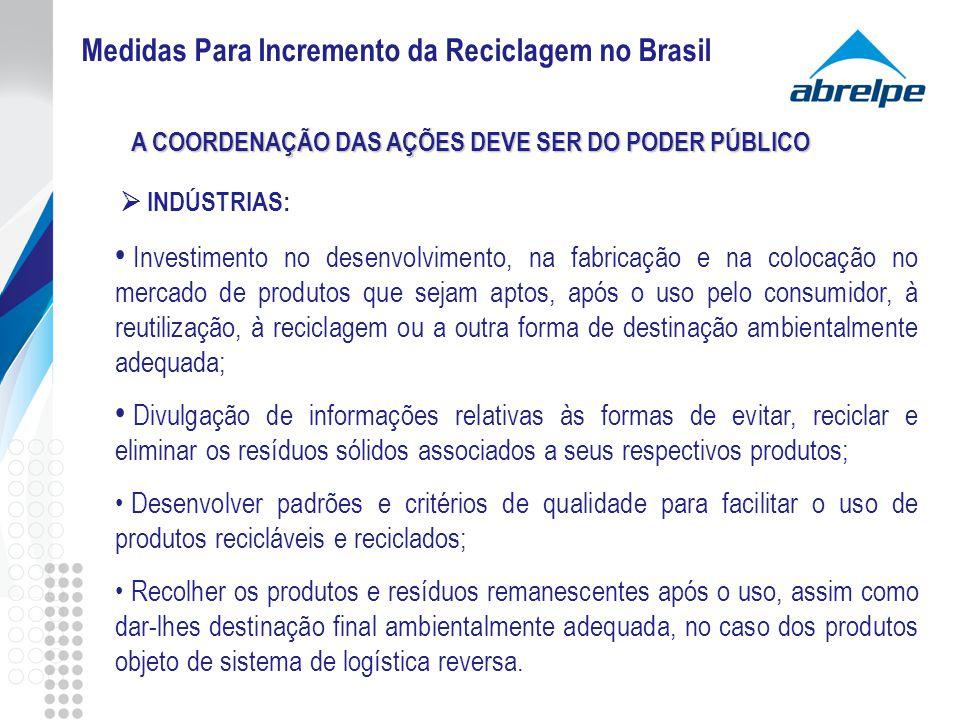 INDÚSTRIAS: Investimento no desenvolvimento, na fabricação e na colocação no mercado de produtos que sejam aptos, após o uso pelo consumidor, à reutil