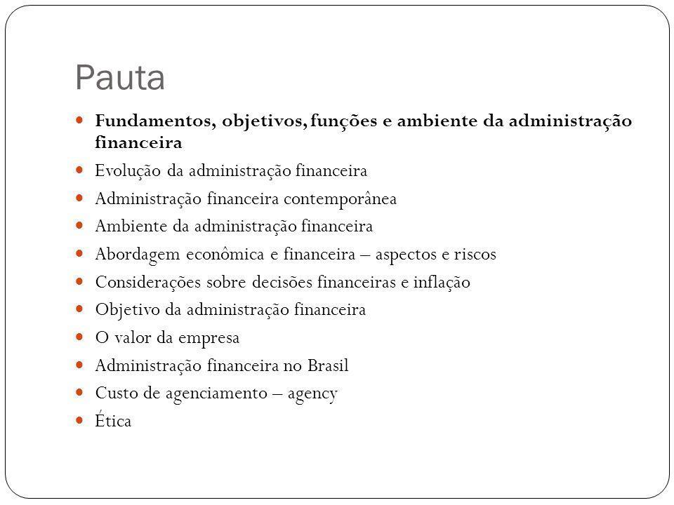 Evolução da administração financeira Até 1930 Ambiente externo Captação de recursos Instrumentos Fornecedores Após 1930 Influencias das teorias administrativas Ambiente interno Preocupações com liquidez e solvência