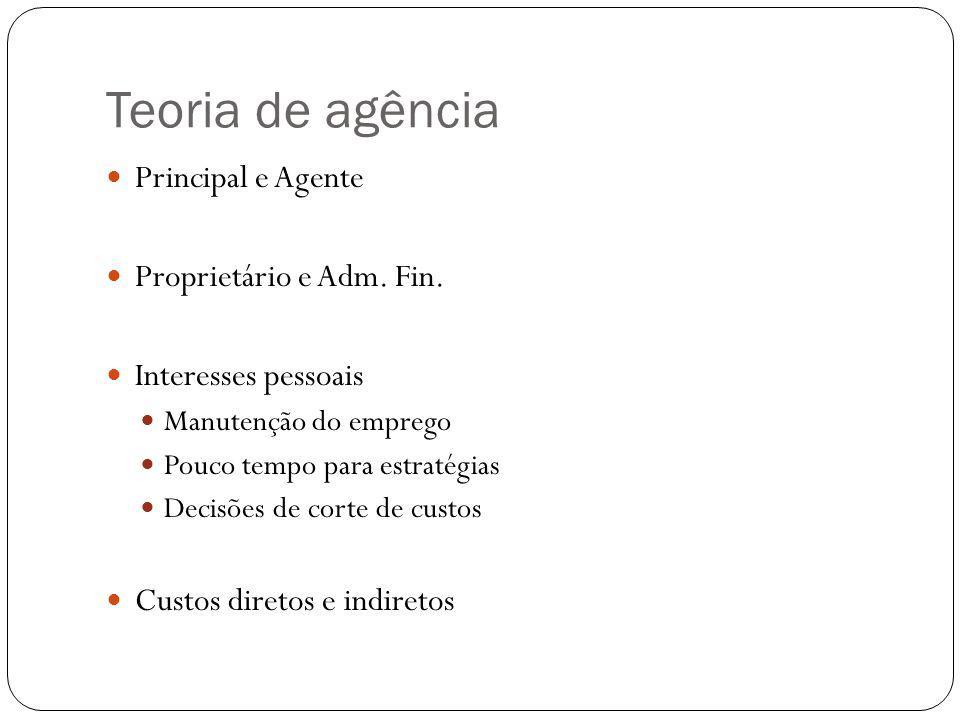 Teoria de agência Principal e Agente Proprietário e Adm. Fin. Interesses pessoais Manutenção do emprego Pouco tempo para estratégias Decisões de corte