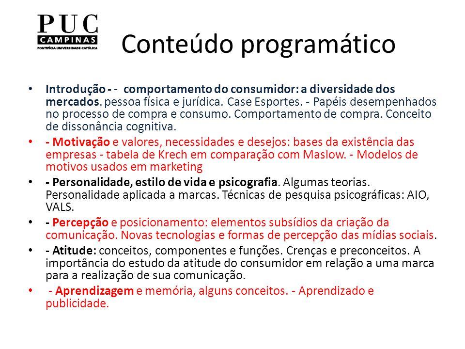 Conteúdo programático Introdução - - comportamento do consumidor: a diversidade dos mercados.