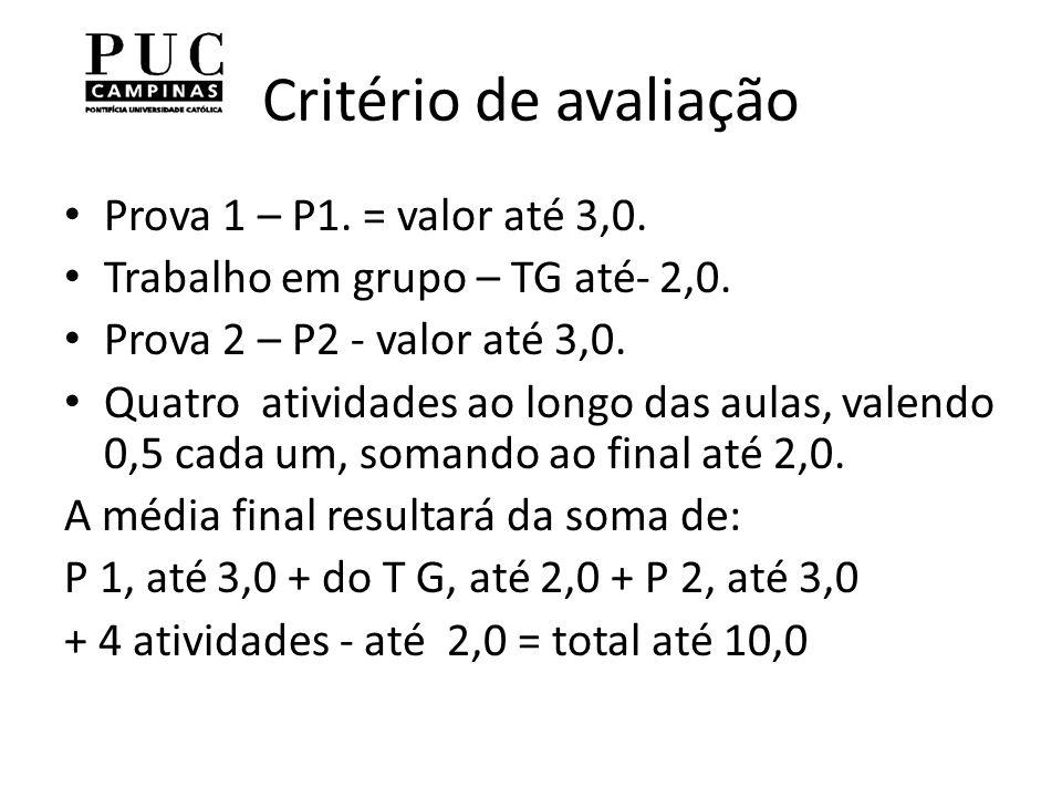 Critério de avaliação Prova 1 – P1.= valor até 3,0.