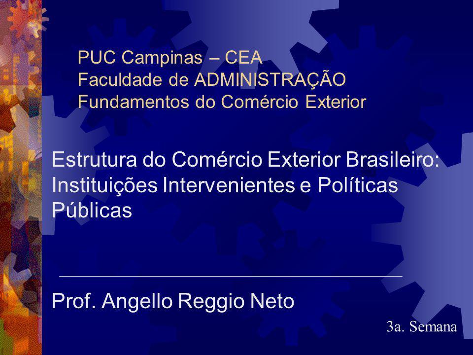 PUC Campinas – CEA Faculdade de ADMINISTRAÇÃO Fundamentos do Comércio Exterior Estrutura do Comércio Exterior Brasileiro: Instituições Intervenientes e Políticas Públicas Prof.