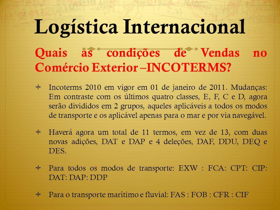 Quais as condições de Vendas no Comércio Exterior –INCOTERMS? Incoterms 2010 em vigor em 01 de janeiro de 2011. Mudanças: Em contraste com os últimos