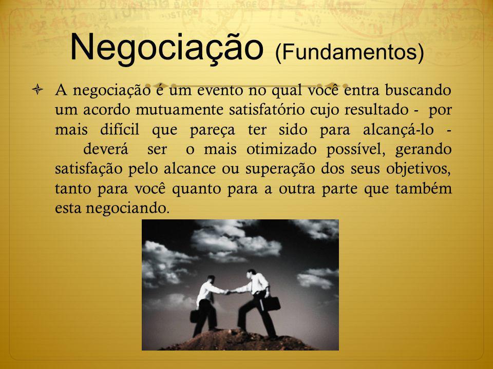 Negociação (Fundamentos) A negociação é um evento no qual você entra buscando um acordo mutuamente satisfatório cujo resultado - por mais difícil que