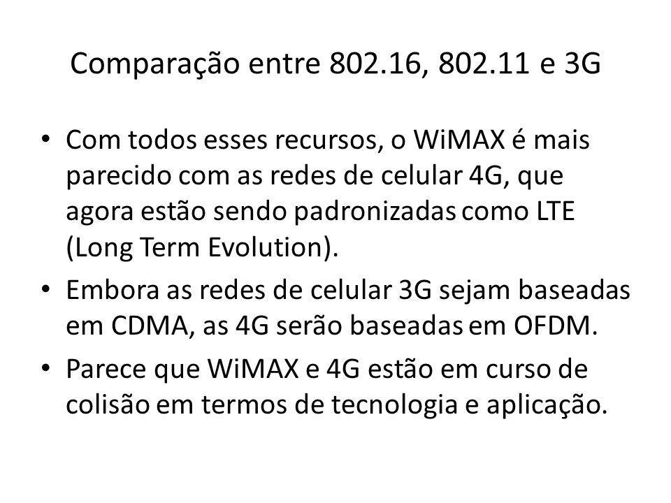 Comparação entre 802.16, 802.11 e 3G Com todos esses recursos, o WiMAX é mais parecido com as redes de celular 4G, que agora estão sendo padronizadas
