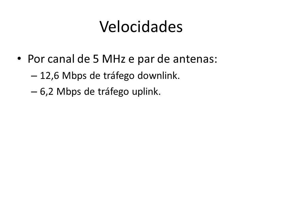 Velocidades Por canal de 5 MHz e par de antenas: – 12,6 Mbps de tráfego downlink. – 6,2 Mbps de tráfego uplink.