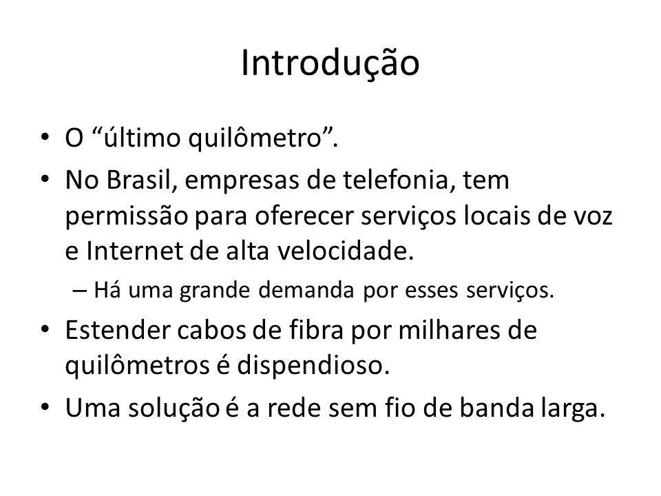 Introdução O último quilômetro. No Brasil, empresas de telefonia, tem permissão para oferecer serviços locais de voz e Internet de alta velocidade. –