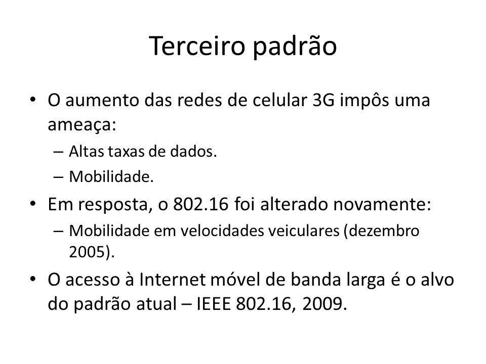 Terceiro padrão O aumento das redes de celular 3G impôs uma ameaça: – Altas taxas de dados. – Mobilidade. Em resposta, o 802.16 foi alterado novamente