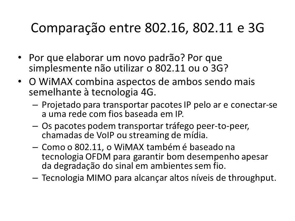 Comparação entre 802.16, 802.11 e 3G Por que elaborar um novo padrão? Por que simplesmente não utilizar o 802.11 ou o 3G? O WiMAX combina aspectos de