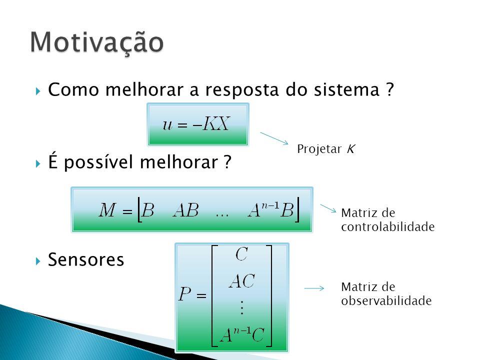 Como melhorar a resposta do sistema ? É possível melhorar ? Sensores Projetar K Matriz de controlabilidade Matriz de observabilidade