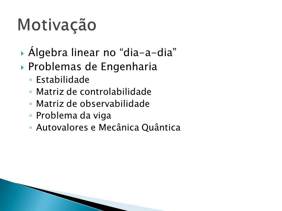 Álgebra linear no dia-a-dia Problemas de Engenharia Estabilidade Matriz de controlabilidade Matriz de observabilidade Problema da viga Autovalores e M