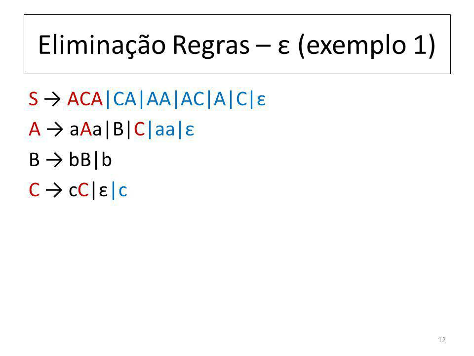 Eliminação Regras – ε (exemplo 1) S ACA|CA|AA|AC|A|C|ε A aAa|B|C|aa|ε B bB|b C cC|ε|c 12
