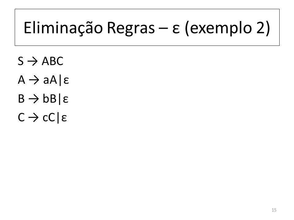 Eliminação Regras – ε (exemplo 2) S ABC A aA|ε B bB|ε C cC|ε 15