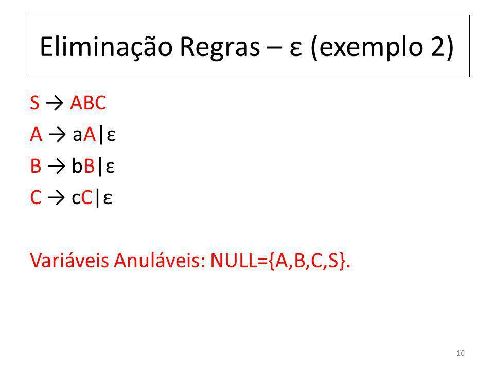 Eliminação Regras – ε (exemplo 2) S ABC A aA|ε B bB|ε C cC|ε Variáveis Anuláveis: NULL={A,B,C,S}. 16
