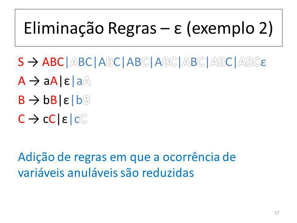 Eliminação Regras – ε (exemplo 2) 17