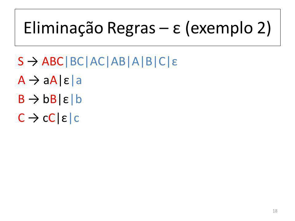 Eliminação Regras – ε (exemplo 2) S ABC|BC|AC|AB|A|B|C|ε A aA|ε|a B bB|ε|b C cC|ε|c 18