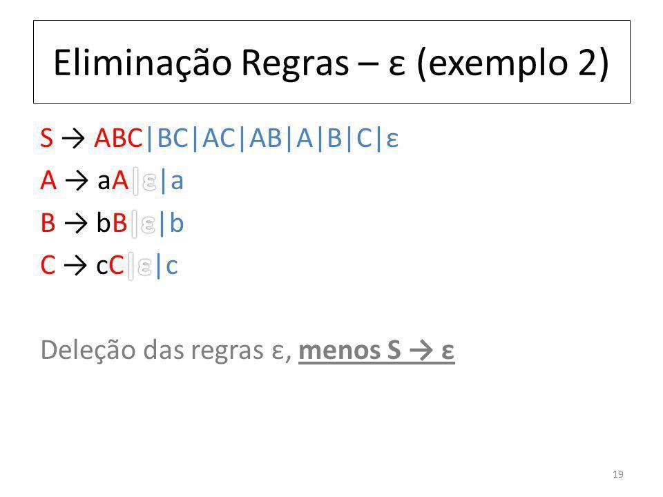 Eliminação Regras – ε (exemplo 2) 19