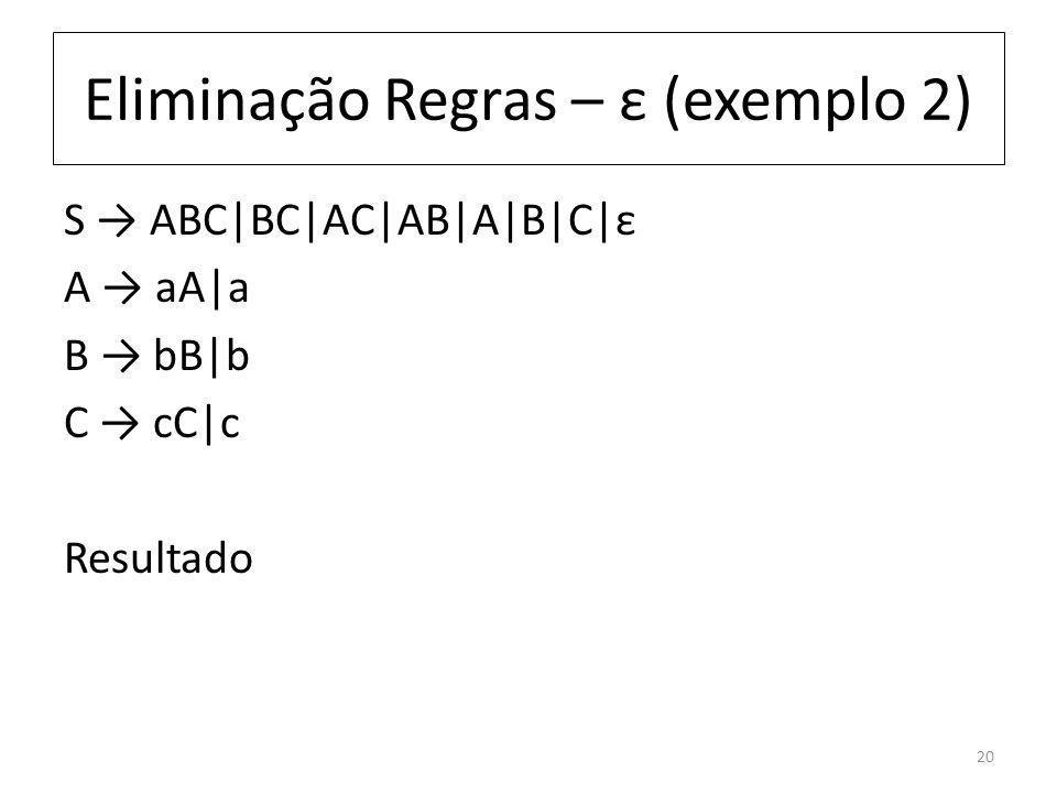 Eliminação Regras – ε (exemplo 2) S ABC|BC|AC|AB|A|B|C|ε A aA|a B bB|b C cC|c Resultado 20