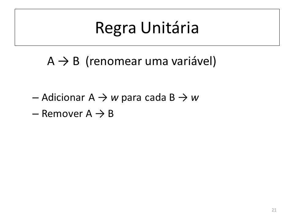 Regra Unitária A B (renomear uma variável) – Adicionar A w para cada B w – Remover A B 21