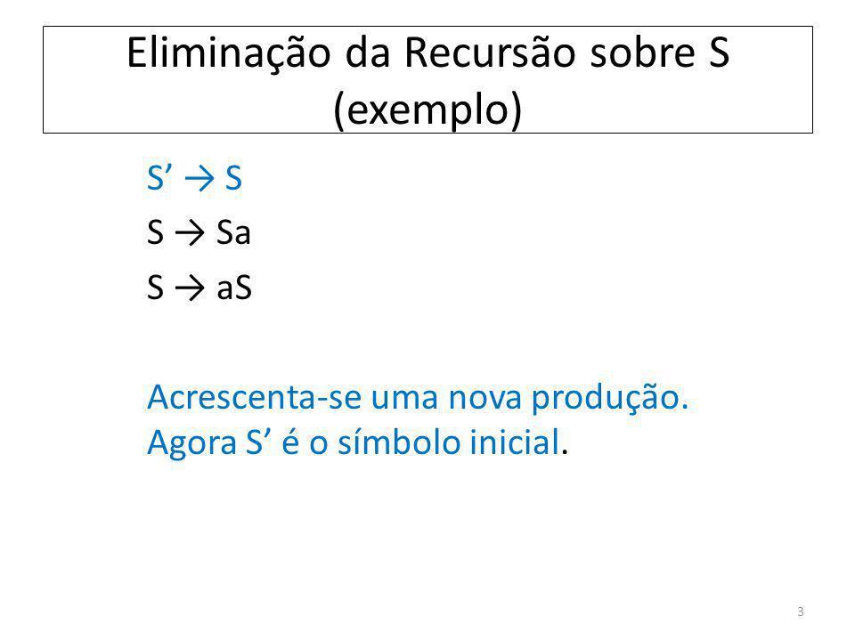 Eliminação da Recursão sobre S (exemplo) S S Sa S aS Acrescenta-se uma nova produção. Agora S é o símbolo inicial. 3