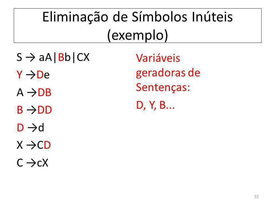 Eliminação de Símbolos Inúteis (exemplo) S aA|Bb|CX Y De A DB B DD D d X CD C cX Variáveis geradoras de Sentenças: D, Y, B... 33