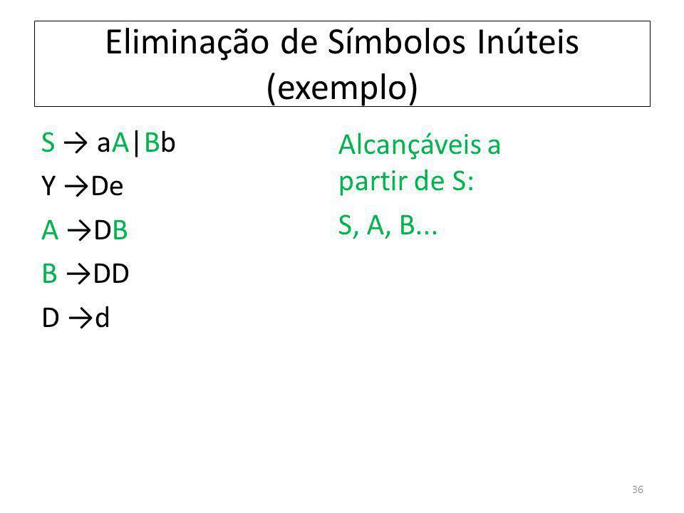 Eliminação de Símbolos Inúteis (exemplo) S aA|Bb Y De A DB B DD D d Alcançáveis a partir de S: S, A, B... 36