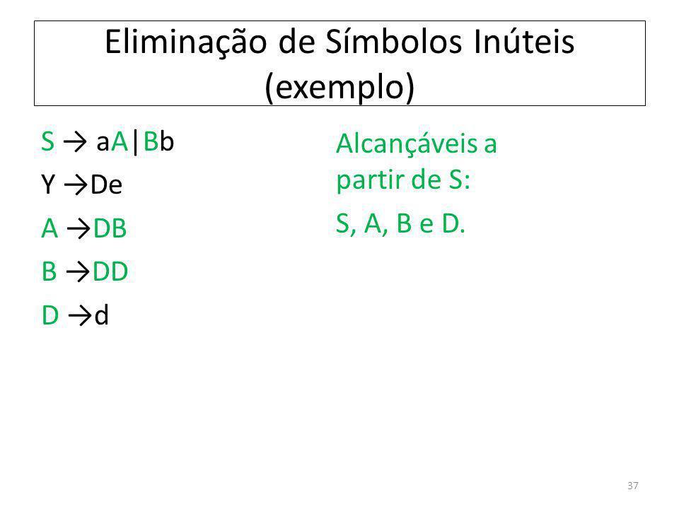 Eliminação de Símbolos Inúteis (exemplo) S aA|Bb Y De A DB B DD D d Alcançáveis a partir de S: S, A, B e D. 37