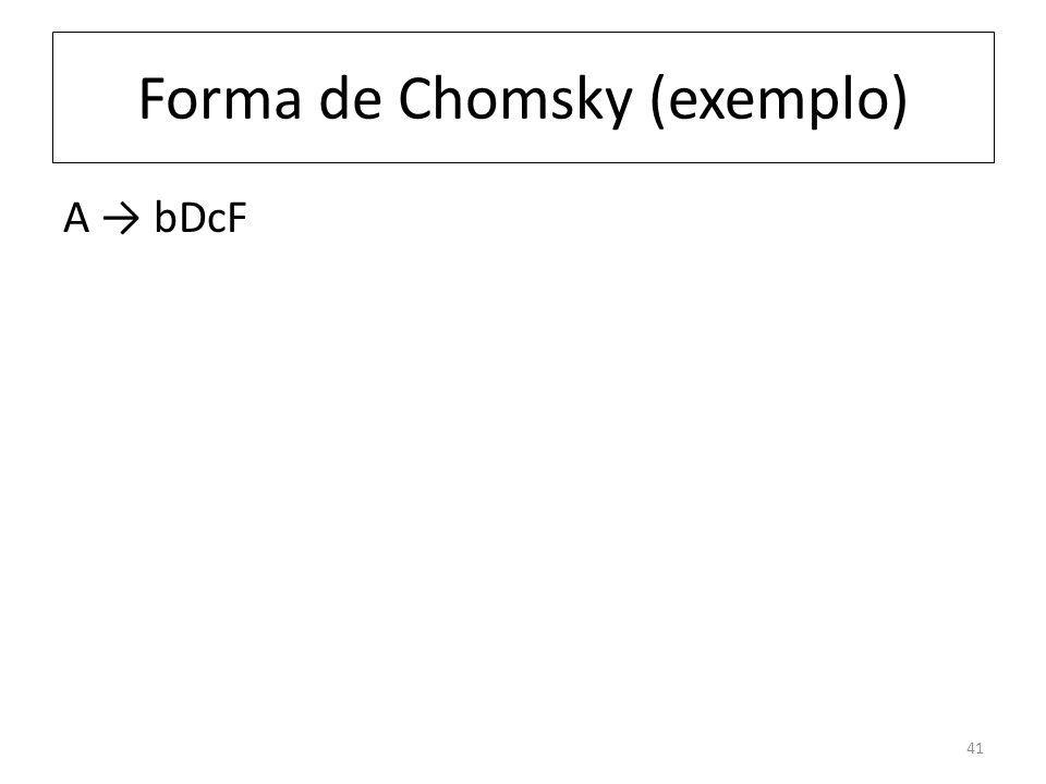 Forma de Chomsky (exemplo) A bDcF 41