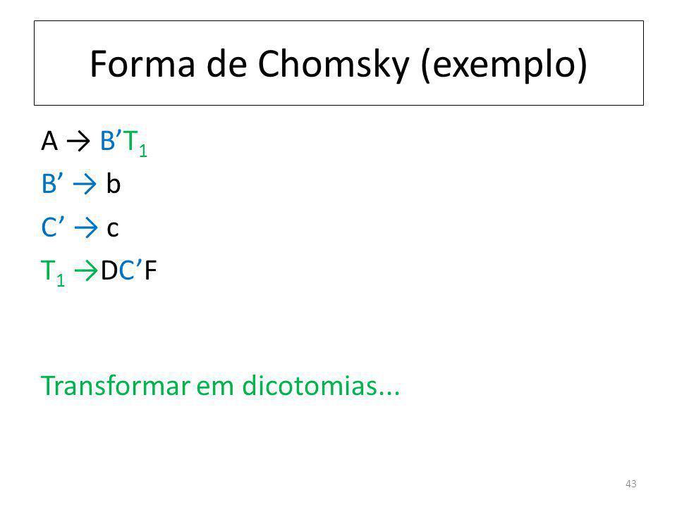 Forma de Chomsky (exemplo) A BT 1 B b C c T 1 DCF Transformar em dicotomias... 43