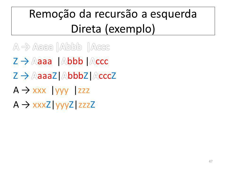 Remoção da recursão a esquerda Direta (exemplo) 47