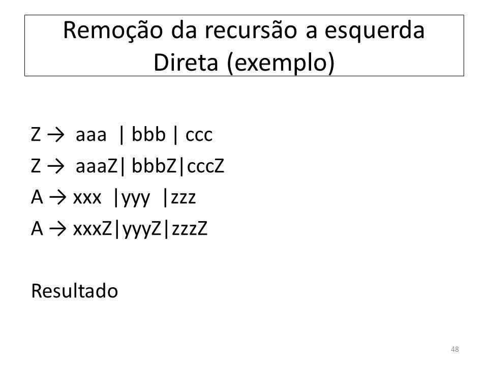 Remoção da recursão a esquerda Direta (exemplo) 48
