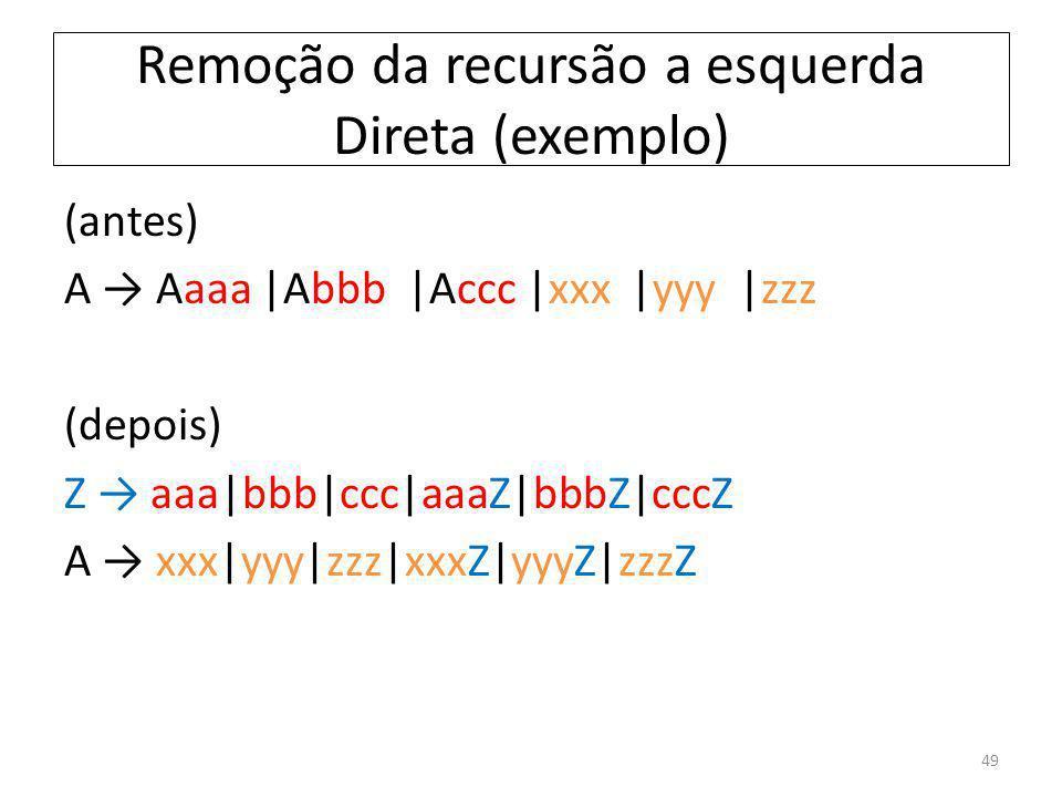 Remoção da recursão a esquerda Direta (exemplo) 49