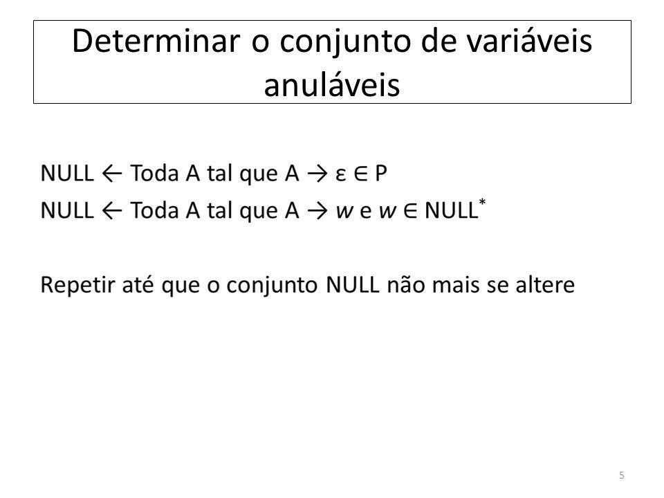 Determinar o conjunto de variáveis anuláveis 5