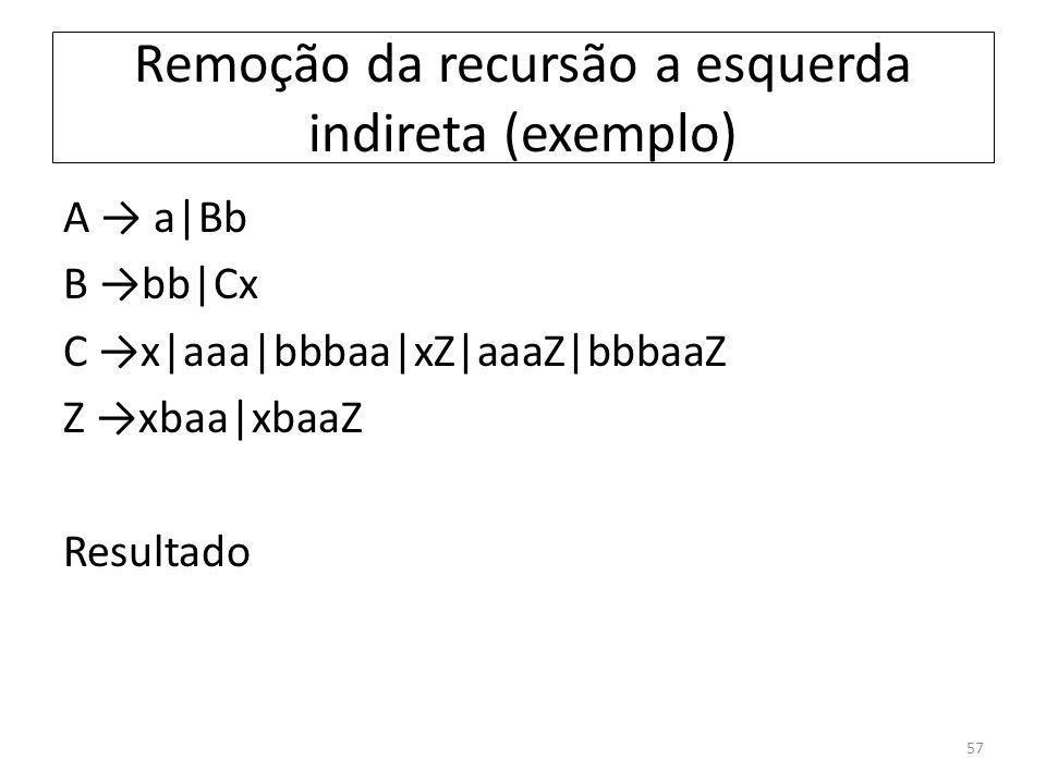 Remoção da recursão a esquerda indireta (exemplo) A a|Bb B bb|Cx C x|aaa|bbbaa|xZ|aaaZ|bbbaaZ Z xbaa|xbaaZ Resultado 57